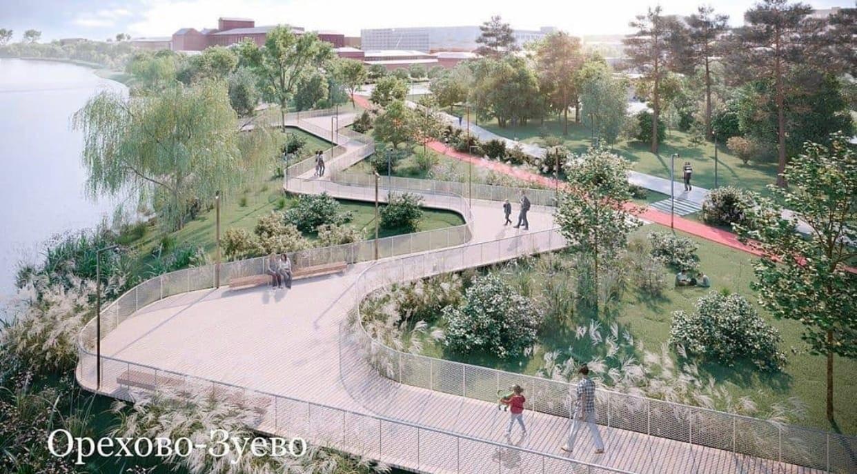 Пешеходную зону новой набережной в Орехово Зуеве благоустроят к 2022 г